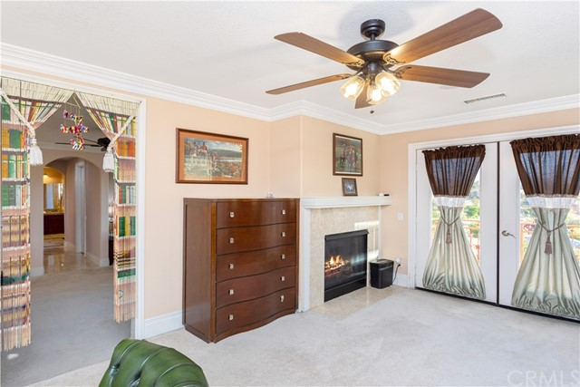 Library/Office area off Master Bedroom with Dual Fireplace and Private Balcony