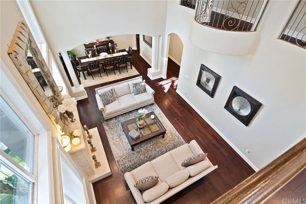 Looking down at the formal living room from upstairs.