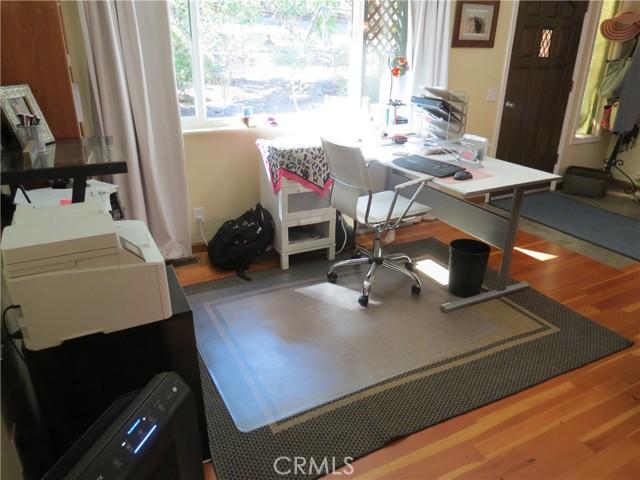 Office work space in living room