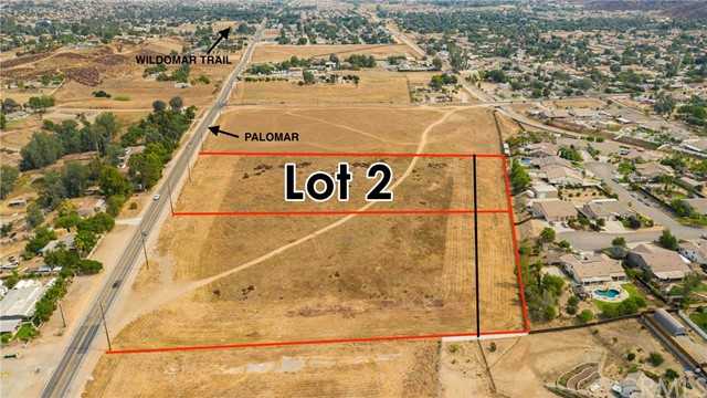 5.19 Acres..total. The front parcel is 4.78 acres of Commercial. the small strip of RR at the rear could be a buffer to the residential.   Heart of Wildomar, Palomar Rd Frontage. Earth Quake Studies done and available. Flat to gentle property with paved road frontage Power and Phone near, and in the path of progress. Water in Palomar St. Sewer close by.  this property is Ready for your Commercial use.  Retail/ Commercial uses.