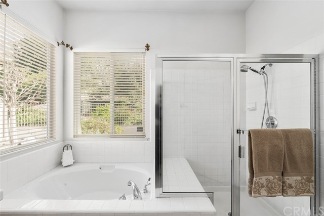 Separate shower and soaking tub