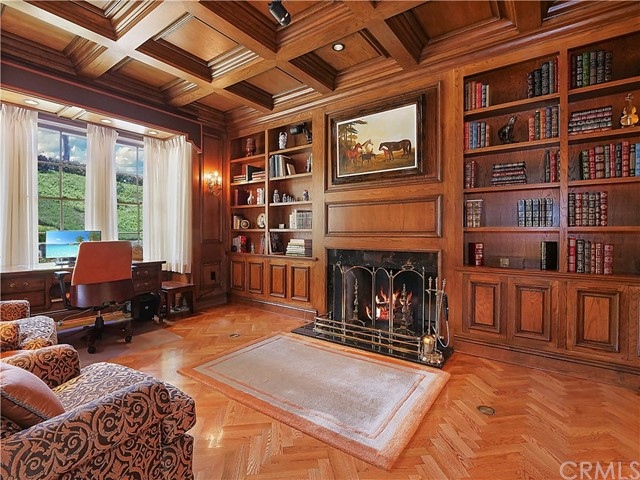 a stunning library with fireplace