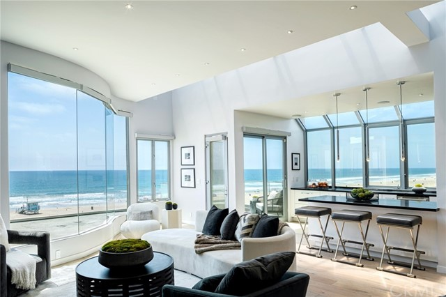 Living room, kitchen and ocean view