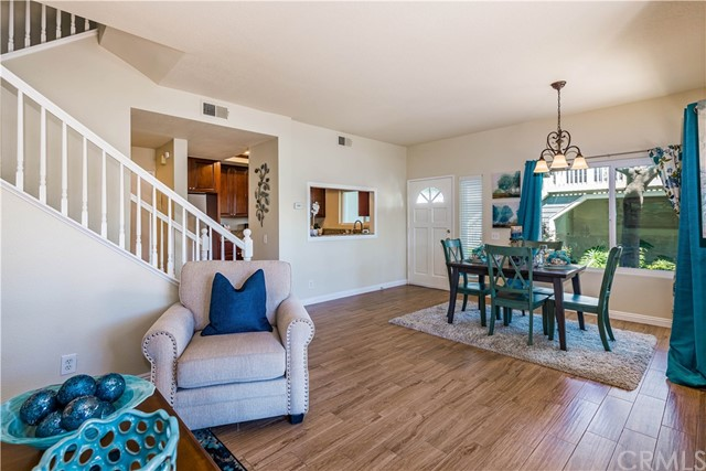 The pass-through from the kitchen to the dining area makes serving a meal a breeze!