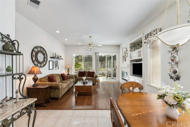 Spacious family room offers access to backyard