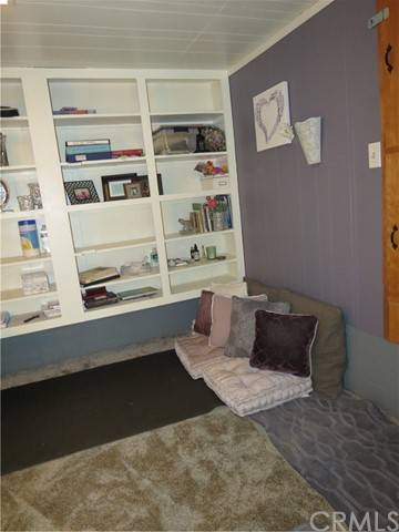 Basement office with built in storage