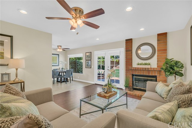 Family room opens to the kitchen & breakfast area. French door leads to a huge backyard.