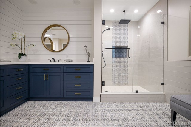 Master Bathroom shower and double vanity