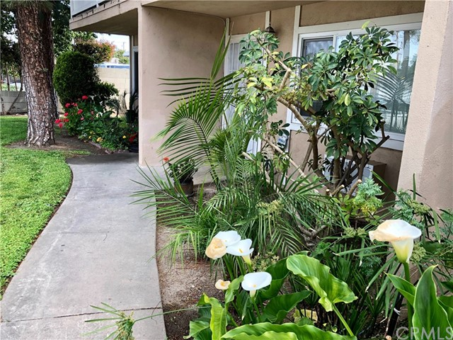 Great Location 2BD, 1.5 BA Condo. Rare opportunity to live close to Chapman University and the Orange Circle. It is also near to freeways, 22,57 and the 5 interchange. On your free time enjoy the fun atmosphere of the shops and restaurants at the Orange Circle or the nearby parks. Nice private patio for you to enjoy a meal or sunbathe. Little patch of grass for your furry family member. Sliders in the bedroom and kitchen gives the outdoor space easy access. HOA include pool, spa and bbq. Detached single car garage and unassigned parking spot in back.