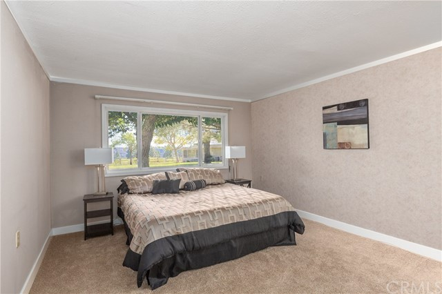The spacious master bedroom looks out to the greenbelt.  It has room for large pieces of furniture.  The bed in the photo is king size.