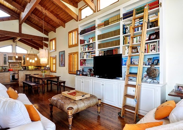 Front Unit Living Room Built Ins With Library Ladder