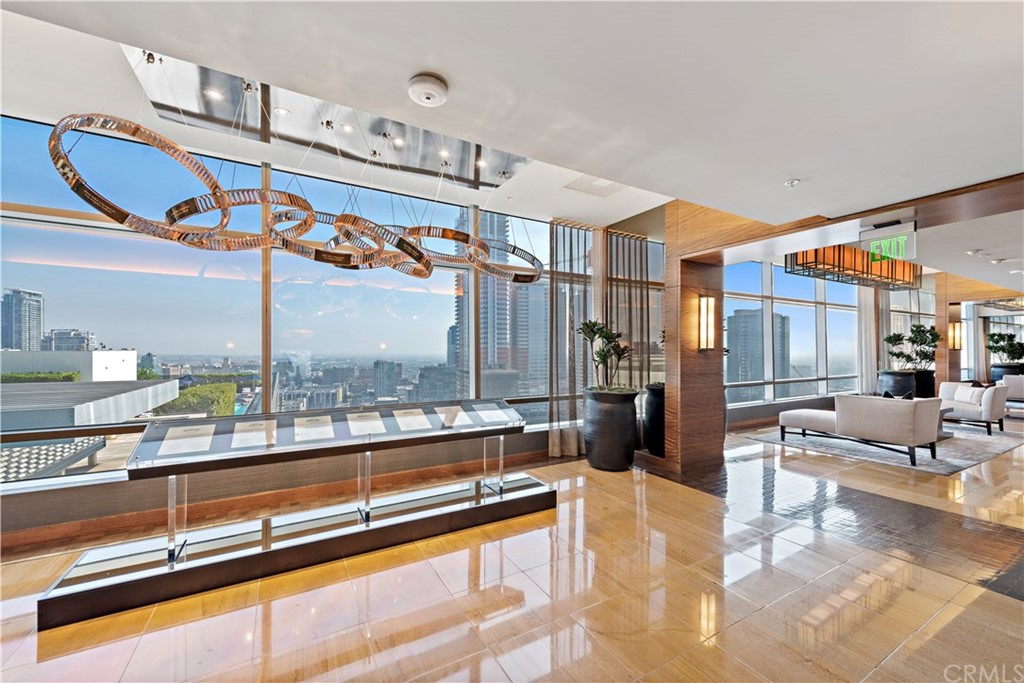 37th Floor Lobby with LA Lakers and LA Kings art tribute and views of Staples Center below.