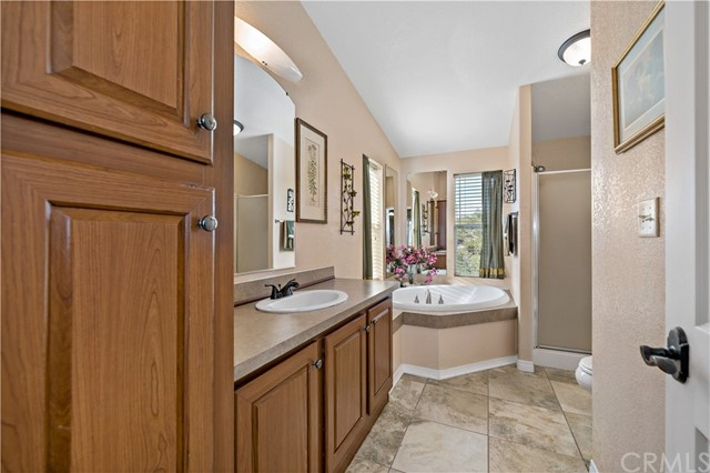 Master bathroom w separate tub and walk-in shower.