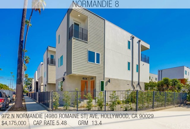 NORMANDIE 8 -  8 NEW CONSTRUCTION UNITS IN HOLLYWOOD -  We are pleased to announce a new construction 8 unit property with C of O issued, with five of the eight units leased.  In addition to this offering, a matching new construction 16 unit property two parcels south is also available for sale from the same seller which can be purchased separately or as a part of this sale. If interested please contact us regarding either property. This luxury complex is comprised of four duplexes, totaling eight townhouse style units. The units are all generous in sizing with four units being three bedroom, two units being two bedroom, and two units being one bedroom (18 bed 16 bath in total), all of which have private laundry. A total of 16 on-site parking spots provide secure and private parking for all tenants. Each unit is equipped with separate meters for water, gas and electricity as well as an owner's common area electric meter for exterior lighting and common area water meter for servicing and landscape irrigation. The property is completed with drought tolerant landscaping, energy efficient building materials, appliances and fixtures presenting the buyer with a low maintenance, environmentally friendly property. The layouts of the units are spacious and only share a single wall with a single neighbor.  The combination of a strong Hollywood market, new construction units, and a turn-key warrantied property makes this a unique opportunity.
