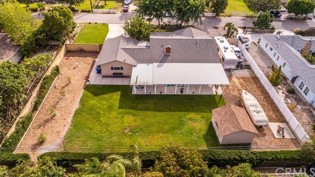 Aerial view of the 1/2 acre property looking south.