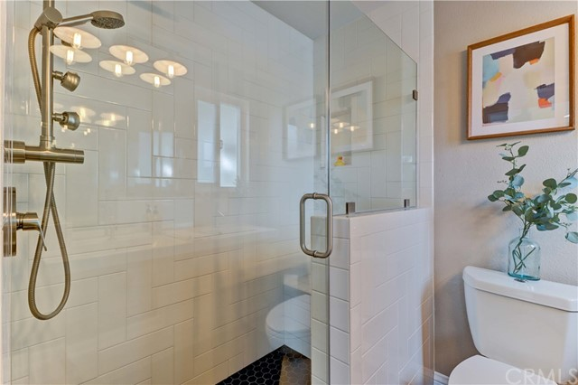 Walk-in shower with bench and Multi -head shower