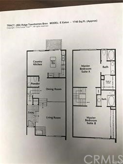 Floor Plan of 1740 sq ft. tri level home with 2 master suites upstairs.