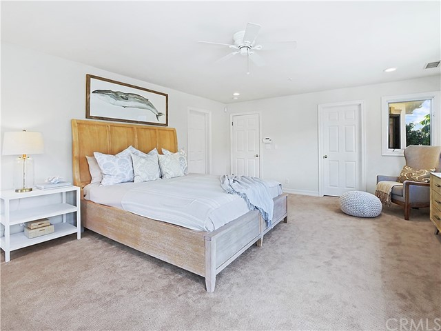 master bedroom with fireplace & 2 walk in closets