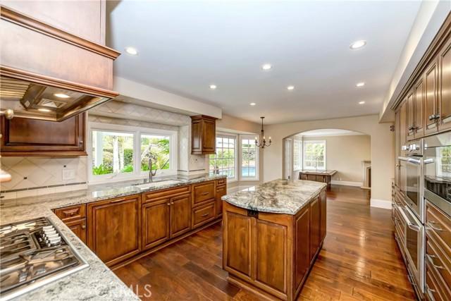 Master kitchen with built-in appliances, center island
