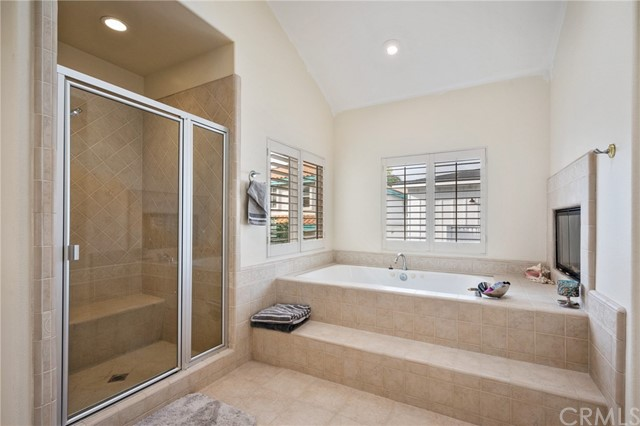 Oversized jetted tub and separate shower