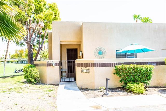 Just in time for fall enjoyment, great End Unit with fantastic mountain and golf course views in desirable gated community of Desert Princess Resort. Situated at the end of the 6th green on a PGA Championship golf course, this property has great views up the fairways and has a great location within the community. Light and Bright 2 bedroom 2 bath Condo has a new HVAC that will keep you cool through those hot summers and covered outdoor patio overlooking the golf course for those cool desert evenings. This gated community offers walking trails, 33 swimming pools, 10 tennis courts, pickle ball, bocee, 27 hole PGA Championship golf course, restaurant, health and fitness center and much more. Lots of parking outside the one car detached garage. Plenty of storage space as well. Gated golf cart patio right outside the front door allows you to zip on over to the tee without a worry. The land lease has been extended to 2069. Owner has installed a new A/C unit, New water heater and installed a gate in the golf cart patio for security. Current owner has never rented the home and it is sold unfurnished.
