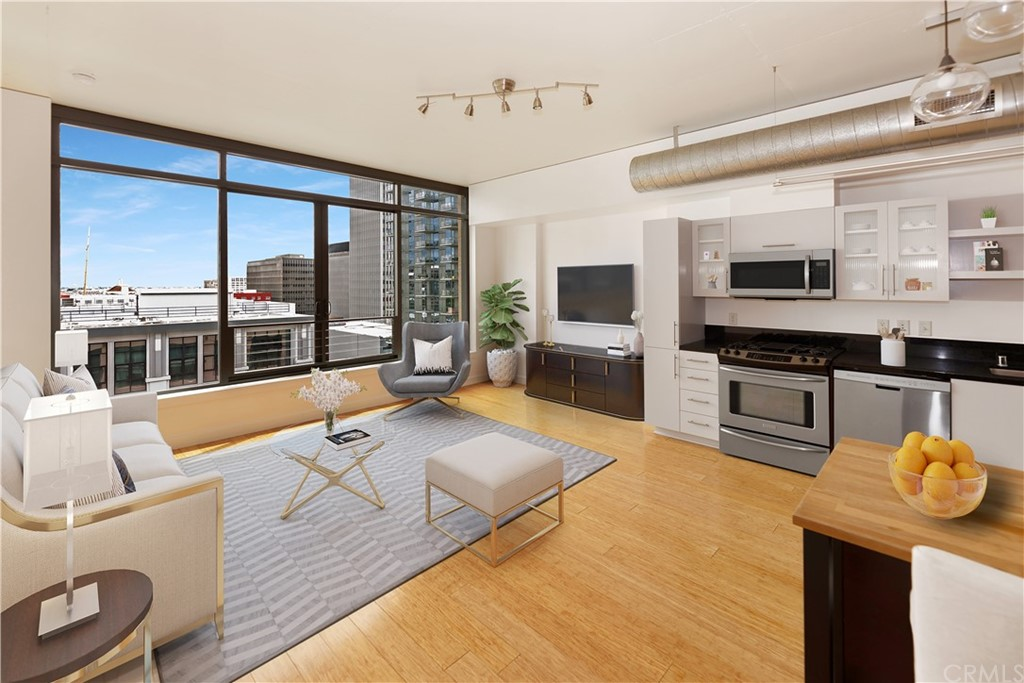 Virtually staged living area with city views.
