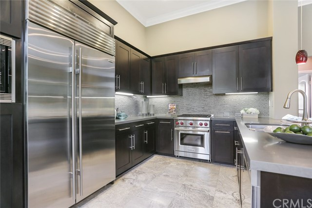 Built-in Refrigerator and Ceasarstone Counters