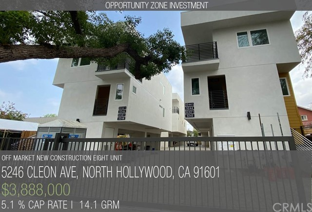 CLEON 8 - NOHO ARTS DISTRICT NEW CONSTRUCTION EIGHT UNIT - CofO issued, Green Certified, and located in the highly coveted North Hollywood Arts District. This non-rent-controlled luxury complex is comprised of four duplexes, totaling eight townhouse style units, each separately metered for all utilities, with private laundry rooms and two parking spaces.  The property is complete with drought tolerant landscaping, as well as energy efficient building materials, appliances and fixtures presenting the buyer with a low maintenance, environmentally friendly property.  Where this property stands out against much of the other new construction in the area is the stable and sustainable income of two-bedroom units. Whereas most new construction properties on the market promote lofty cap rates due to multiple roommates renting by the room, sharing up to five bedrooms in a unit with only two parking spaces, Cleon 8 takes the historically proven model of all two-bedroom units each with two parking spaces. This means one parking space for every bedroom in the development, far less congestion, and simple rent collections. As such Cleon 8 will see much lower turnover, lower maintenance, and higher value than a rent-by-room approached used on high bedroom count units.  This property is now turn-key and ready for purchase during lease-up. Please contact us regarding this opportunity or one of the seller's many other similar developments throughout Los Angeles.