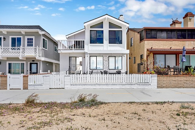 Well-maintained oceanfront duplex with a 4 car garage in the quiet Peninsula Point neighborhood! Enjoy panoramic ocean and Catalina views within the coveted blocks where bay front homes are directly across the street. The downstairs home has 2 bedrooms and 2 bathrooms, new stainless steel refrigerator and a spacious patio for entertaining guests with a view! The upstairs home consists of 3 bedrooms and 2 baths with high vaulted ceilings, a balcony with sweeping ocean views, new carpet and washer/dryer in unit. The large garage fits 4 cars with ample space for bikes, surfboards and has a hook up for a washer and dryer. Located towards the end of the boardwalk allowing for a more quiet atmosphere, there is also a rustic beach volleyball court out front to enjoy with your neighbors. Walk to the Peninsula Point tennis club, the world famous Wedge or local restaurants and shopping on Main Street. Enjoy paradise just in time for the summer, living in one unit while renting out the other!
