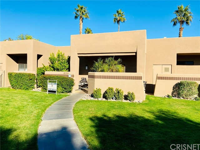 Alameda Masterpiece at Desert Princess!!! This highly upgraded condo is in the prime location in the community w/ unobstructed gold course and water views. Stunning view of pond w/ fountain. Home has dual master bedrooms w/ connecting bathrooms. Seller has recently replaced / upgraded the kitchen backsplash, stove, air conditioner, furnace, water heater, front and rear patio tile flooring, stone ledger under bar, vertical blinds, and front security door. Gorgeous views of San Jacinto. Ceiling fans in each room. New carpet in bedrooms and new tile flooring in closets. Entire interior of home recently painted. Exterior painted 7/2020. The Desert Princess has an affordable 27-hole PGA Championship golf course, no Tee-time lotteries, no initiation fees, rated among the best in the valley by GOLF DIGEST. Complex is in great location to downtown Palm Springs, restaurants, shopping, and casinos. 33 swimming pools, 10 tennis courts, and state of the art fitness center and country club. Land lease expires in 2069.