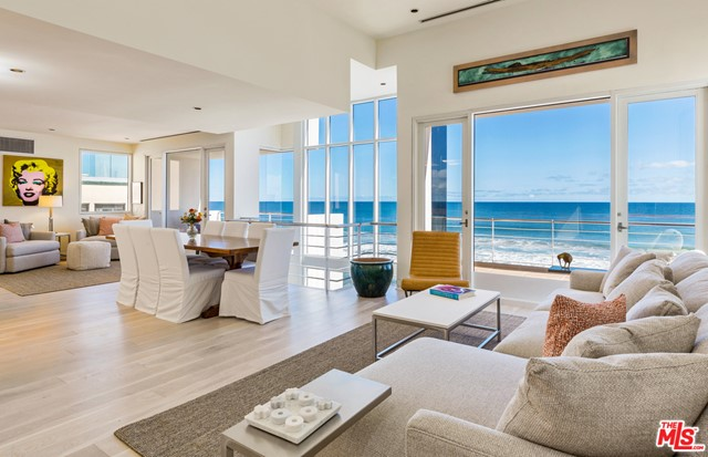 Capturing extraordinary ocean views, this beachfront modern architectural situated on Malibus celebrity-favored Broad Beach is minutes from Malibus top-rated schools, shops and restaurants. The 6,230 sq-ft main house boasts 3 bedrooms, 5 bathrooms and full floor indoor entertainment area opening to an outdoor patio and an infinity-edged pool. Designed to host large-scale & intimate entertaining, voluminous living spaces showcase soaring ceilings and floor-to-ceiling windows, and an additional 3,000 sq ft of decking fosters indoor-outdoor connection on each floor. Its spectacular 3rd-floor Master Suite boasts 17 ft ceilings, a large oceanfront deck with fire pit, chaise lounges, outdoor shower and is plumbed for a hot tub. A stand-alone guest house features one bedroom, two full baths, an open living area and kitchen with an ample terrace for dining and socializing. Great as a separate home, an executive office suite, a spacious gym, sound studio, home theater and remote learning area.