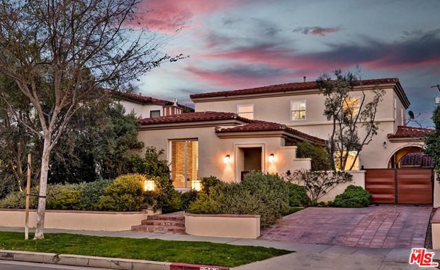 """Offer deadline of 5PM, February 22nd. Any offer must include POF and a brief bio about the client's credibility and their intentions for the property. This immaculate updated 2 story courtyard-style Spanish with stunning landscape design elevates curb appeal to an art form. Set on one of southwest Beverly Hills' most coveted quiet roads, this charming gem awaits its fortunate new owner. Spacious character-infused rooms with wood floors, built-ins, and beautiful newer dual-pane windows. Large living and dining rooms. A most amazing newer chef's kitchen with top stainless appliances opens to a wonderful family room which leads directly to the resort-like rear yard. Separate quaint paneled den could convert to a 4th bedroom suite downstairs. 3 generous sunlit bedrooms upstairs including a big master suite with a huge walk-in closet. The backyard was designed for entertaining with a sizable patio, lawns, striking firepit, and a great guest unit of nearly 500 sq ft  which contains a large living area, lovely skylit bath, and a kitchenette. Peek-a-boo Century City views from the front upstairs bedrooms along with a Tesla charger complete a wonderful place to call """"home""""."""