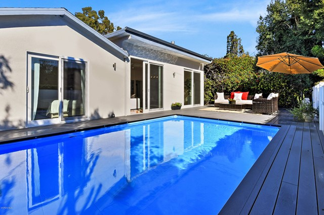 Stunning Architectural Contemporary in Brentwood Glen, COMPLETELY REMODELED in 2017. Modern Architectural Villa offers 3 Bedrooms + OFFICE & 3 Bathrooms. Bright Open Interior showcases impressive High Ceilings, Picture Windows and Skylights throughout. A 20 x 14 ft heated SWIMMING POOL, Large Outdoor Deck surrounded by lush landscaping are completely lit at night with silver Possini sconces. Modern, contemporary interior features high end finishes, new hardwood floors, double pane windows throughout, recessed lights in every room, renovated kitchen with mirror subway tiles, tinted in gold.. Calacatta Italian MARBLE counter tops, top of the line double ovens and stove. Formal Dining Room opens to a large picture window, bringing in the light and greenery of surrounding garden. The Family Room is an impressive 25 x 25 feet with 10 ft Sliding Glass Doors that open to the deck and swimming pool. Entire house on one single level with no interior steps. All Three Bathrooms have Italian Marble Floors. The Master Suite offers a freestanding Firenze spa soaker Bathtub and walk-in closet. Central AC with Nest thermostat, Security System, EV Charger, Remote Entry Gate. Available furnished or unfurnished.. Call Listing Agent for details.