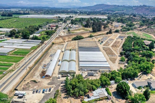 19.53 acres in Somis right off Hwy 118 zoned AE. Currently there are 2 greenhouses totaling 16,800+/- square feet and 24 hoop houses each measuring 20'x144 plus numerous other shade structures.There is also a 2 bedroom 1 bath home with a detached garage.  Numerous opportunities with this unique property.  Parcel includes multiple APNsIt is also in a location for Ventura County Pilot Cannabis Cultivation Program which is to allow cannabis production inside existing greenhouses. Buyers to do the own due diligence.All appointments must be scheduled with listing agent.