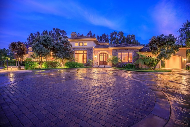 Masterful design & impeccable craftsmanship are uniquely embodied in this Spanish Hills custom estate. Astounding location at end of cul-de-sac on over 1.4 acres. Breathtaking home at nearly 6,900 sq ft possesses 5 bedrooms, study, workout room, mud room, & 6.5 baths. Pull into your privately gated property with expansive circular driveway then through the porte cochere to an oversized 4 car garage. Vast outdoor living space gives you a wonderland in which to entertain & admire. Delight family & guests under the enormous covered patio with built-in barbeque, fire pit, & large spa. Immerse in the lush serene landscaping or enjoy sounds of water in winter courtyard with large fountain & flora. Breathe easy entering your beautifully appointed abode of natural materials & luxurious finishes. Superb floorplan allowing for abundance of natural light, main floor master suite wing, main floor ensuite guest quarters, gigantic great room off gourmet chef's kitchen & breakfast nook, main floor study, majestic formal living room & adjacent formal dining room with butler's pantry, upstairs possesses three ensuite bedrooms, workout room & 3 private balconies. Perfect for anyone, this home is ideally positioned to enjoy the awe-inspiring lifestyle of Ventura County.