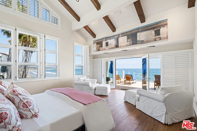 This ultimate beachfront retreat is set on the only sandy beach in Malibu where the gentle slope creates exceptionally approachable waves breaking far off from shore. The view from this home is one of the best in Southern California and can be appreciated from the approx. 2500 square foot great room living area or the extraordinarily spacious beachfront deck adjoining the living area ( or the expansive master bedroom deck) which showcases the wide sandy beach, Lechuza Point with pristine cove and rock formations, and a coveted surf break The tastefully remodeled kitchen offers substantial storage and amenities not found in most beach homes.  Lounge in the 1400+ square foot oceanfront three-room master suite with vaulted ceilings, private fireplace retreat, spa-style bath area, large deck, gym area, and multiple closets. Two more spacious ocean-view suites are featured in the main residence, with three detached guest suites. This is also one of the rare beach homes in Malibu that is connected to a sewer treatment facility, not septic system. This property has excellent investment potential as a seasonal rental, and additional features include an elevator, courtyard spa, three-car garage, and off-street parking. REST4Plans measured the home at 8,072 total square feet under roof, making it one of the largest homes on Broad Beach on a single 50 foot lot. Rare and remarkable.