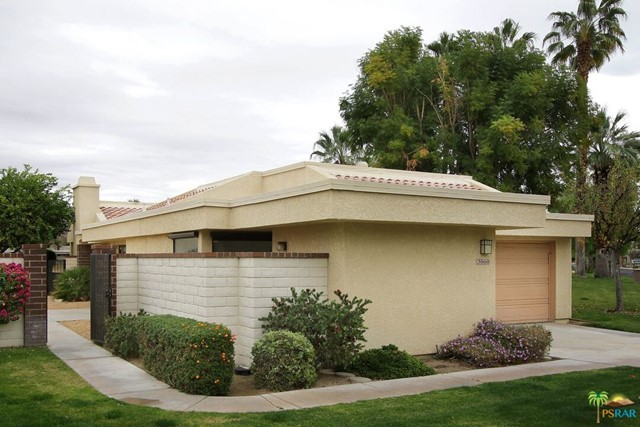 A rare opportunity to own a FREE STANDING property in West Gate PS at the Cathedral Canyon CC. With over 2,000 sq ft of living area, private entry courtyard, double car garage PLUS a golf cart garage, this 3 bedroom, 2 bath condominium is like living in a single family home. A vaulted ceiling and large windows in the living/dining area and kitchen provide a feeling of spaciousness and an abundance of light. The kitchen has views of the golf course. From the oversize rear patio enclosed by a short brick wall there is a lovely view of the golf course, the green and pond which caters to a variety of birds. Storage abounds with 3 large bedroom closets and a storage loft in the garage. Part of the property has been updated and refreshed. The remainder awaits your creative touch. Heated pool and spa in the HOA.