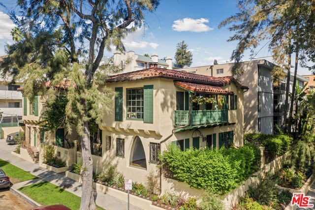 A rare opportunity to own an historic, picturesque Grand Dame Mediterranean 4-plex just blocks from Beverly Hills. Lovingly restored and cared for, this trophy building recently obtained Mills Act status, saving thousands in property taxes allowing for generous returns. Comprised of four 2 bd + 1 ba units, this property features: lush gated gardens, a private courtyard entry with fountain, massive loft-like living rooms with beamed/vaulted wood ceilings, wood floors, plaster walls, period piece baths, private laundry rooms, central heat and air, and plenty of parking. Located on the Northwest corner of Alden and Wetherly, just moments from the Four Seasons Hotel, the new Four Seasons Residences, Cedars, and all the shops and restaurants in Beverly Hills and West Hollywood. Delivered with one unit vacant in this high rent, and coveted neighborhood, an opportunity that is too good to miss!