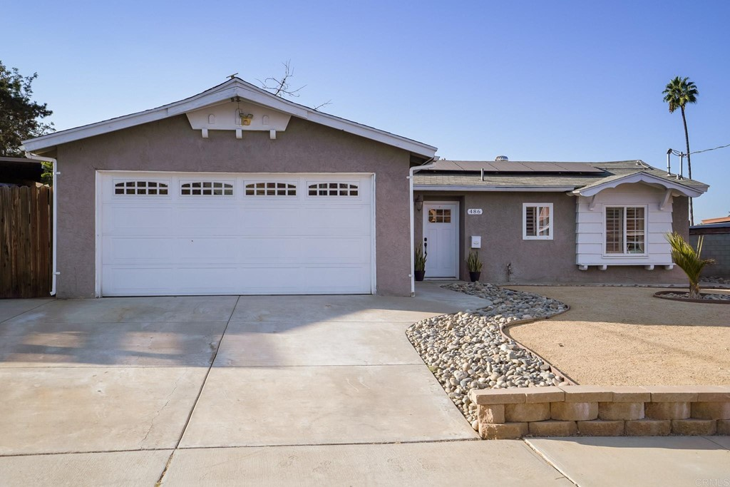 STUNNING ONE STORY HOME. Move-in ready with 6,600 sq ft lot size!!! This home boasts of an open floor plan, updated kitchen cabinets with quartz countertops, stainless steel appliances, tile flooring & window shutters throughout. Built in dining seating with custom cushions. Master bedroom with walk-in closet, garage with mirrors & epoxy flooring. Big backyard that is fully landscaped with a custom deck that was recently installed this summer. What an amazing outdoor space for the family to enjoy playing, exercising, BBQing and s'mores around the fire pit. This home has it all along with SOLAR. Don't miss out!