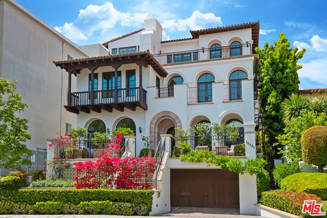 This Tuscan villa in the heart of Westwood offers the ultimate in luxury with three separate units entered by private elevator. Each with formal entry, marble floors throughout the living room, kitchen and bathrooms. Gorgeous kitchens featuring large center island, Wolf range, Sub-zero refrigerator, custom marble floors and custom wood cabinetry. Living and dining rooms overlook large balconies with spectacular views of Century City. Principal suites feature elegant bath with inlaid marble tiled floors, large shower and spa tub. Custom walk-in closets. 2nd ensuite bedrooms overlook courtyard with pvt balcony. Washer/dryer and custom fixtures throughout plus 8 car secure parking, alarm systems and garden fountains.