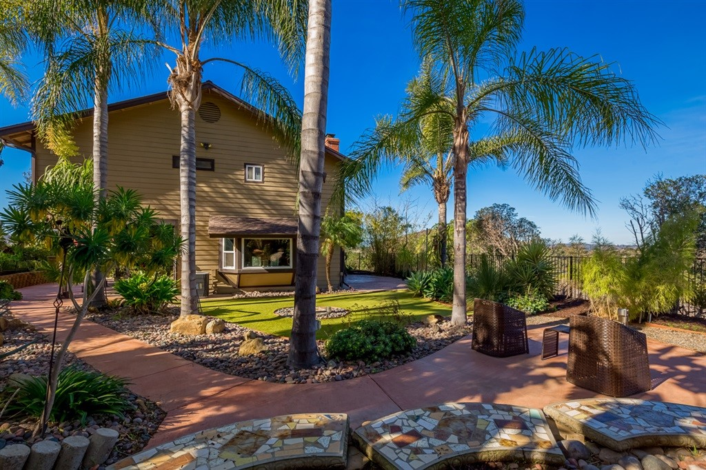Beautiful home with incredible views and lush landscape sits at the top of a hill in a cul-de-sac in the rolling hills of lakeside. Home Remodeled in 2013, New Windows in 2016, a New Roof and New Fencing 2018 and has 2 wood burning fireplaces and solar panels providing effective energy efficiency and a charming modern feel. Nice workshop with power just across from your 2 car garage. Only 30 min to downtown, Coronado and Beaches. Just 5-6 min away from Lake Jennings Recreation Area. This one Wont Last ! Neighborhoods: Lakeside Hills Equipment:  Dryer, Washer Other Fees: 0 Sewer:  Sewer Connected