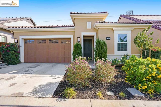 Opportunity Knocks at Trilogy At The Vineyards! Trilogy At The Vineyards is a gated 55+ resort community nestled in the rolling hills of Brentwood. 1591 Chianti Lane is a popular Collection 1, Costa Dorada Model offering 3 bedrooms, 2 full bathrooms, 2 car attached garage, an open kitchen floor-plan overlooking the Great Room, Smart Space off kitchen, indoor laundry, Whole House Fan and Solar to keep energy costs down, high ceilings, light & bright, simple low maintenance backyard with covered patio. Those who love to cook and entertain look no further! This kitchen offers granite countertops, wrap-around bar seating, island large enough to host a house full of guests, stainless steel appliances, large walk-in pantry, double oven, electric glass cooktop for easy cleaning, and lovely maple cabinets. Virtual tour, listing video, floor-plans, and aerial views visit; (http://www.1591chiantilane.com). Posted Entry Rules link here: (http://nexthometc.com/files/2020/06/05-Pictogram-Sign.pdf