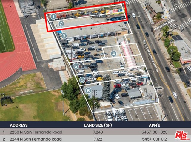 DO NOT DISTURB TENANT. Building is in use as an auto repair shop. 2 lots included in the sale, addressed are as follows 2244 San Fernando Rd & 2250 San Fernando Rd. Flat, usable land industrial zoning. All financial information to be discussed with the broker.