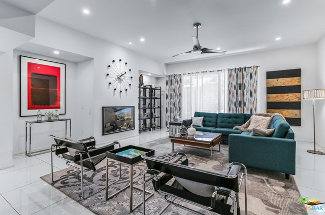 Sophisticated and eclectic. 2087 Ramitas Way is that and then some. This 2BR/2.5BA, 2289 sq ft, fully furnished unit is one of the most stunning condominiums you will find in all of Palm Springs. There are remodeled units out there but few with the attention to detail that you will find here. The kitchen is a masterpiece and the bathrooms, a tour de force. Some of the additional ammenites include a large balcony off the master bedroom with great mountain views, a lovely back porch area sheltered by mature trees, an HOA that includes internet and cable with HBO and Showtime, a large community pool, clubhouse and lighted tennis courts. You are located in the highly desirable south end of Palm Springs, a short drive to all the wonderful restaurants, galleries and shops that the downtown has to offer.The complex itself was designed by noted local architect Hugh Kaptur.This home is both distinctive and welcoming, the perfect Palm Springs escape.
