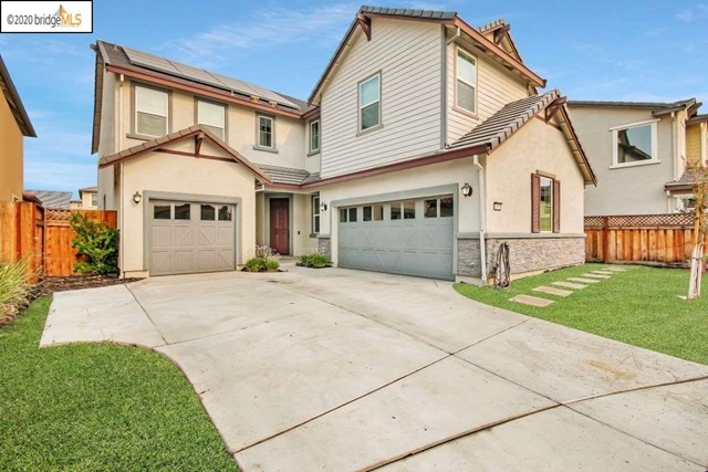 "Why hassle with new! Just built in 2018. Gleaming quartz slab counters. Sparkling white cabinets. Stainless steel appliances plus a stainless hood. High quality laminate flooring with acoustic backing. Extensive stamped concrete rear patio. Great for entertaining and low-maintenance!  Yard is pre-wired for landscape lighting. Whole-house fan for your convenience. Leased solar system means lower overall electrical bills. Convenient central Brentwood location close to everything.  4 real bedrooms plus a large loft upstairs.  ""Flex"" room downstairs would make great home office/workout room!"