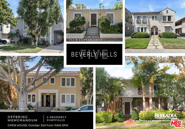 We are excited to exclusively offer for sale for the first time in two generations, five well-maintained, charming apartment buildings in prime Beverly Hills (can be purchased together or individually).  Totaling 28 units, all five properties are located within minutes of each other and offer an investor a rare opportunity to purchase irreplaceable real estate (as a portfolio, sub-portfolio or individually).  This is the first time these properties have been on the market in over two generations. The properties are in phenomenal locations and are within walking distance to a plethora of high-end shopping, dining and entertainment. The area is known for its luxury living, top-rated schools and with two future Metro stations within one half-mile of all the buildings or a very short walk from most of the buildings, it offers tremendous proximity to employment centers including Century City, Westwood, Hollywood and Downtown Los Angeles. Strong fundamentals in Beverly Hills support robust rents with an average home value of $3,634,399 and an average household income of $208,129 (Source: STI PopStats). The PORTFOLIO offers an attractive selection of studios, one- and two-bedroom units.  ALL PORTFOLIO ADDRESSES ARE: 141-143 S Bedford Dr, BH 90212 (6u - APN: 4328-020-008); 8918 & 8924 Burton Way/332 N La Peer, BH 90211 (9u - APN: 4335-019-032; -006); 123 N Hamilton Dr, BH 90211 (6u - APN: 4334-021-064); 218 S Gale Dr, BH 90211 (7u - APN: 4333-030-035).  RENTS SHOWN are averages for the entire portfolio. Detailed Rent Rolls are available in OM.  Tenant Occupied - Please DO NOT DISTURB TENANTS or Walk the Property without an appointment.